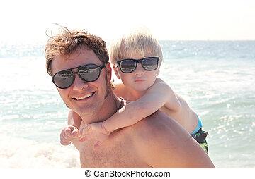 fader, baksida, ocean, bärande, nasse, son, strand