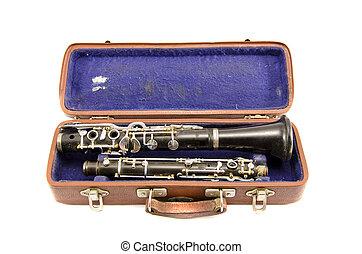 fall, forntida, gammal, isolerat, använd, klarinett