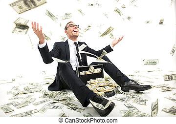 fall, fyllda, sittande, kastande, pengar, rich!, ung, formalwear, uppe, valuta, medan, papper, affärsman, lycklig