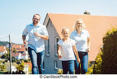 familj, deras, spring, färsk, främre del, hem, lycklig