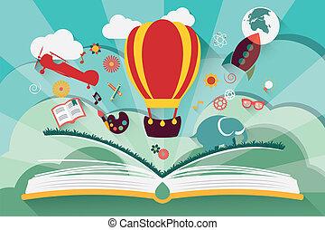fantasi, begrepp, -, bok, öppna