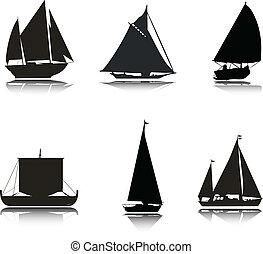 fartyg, silhouettes, vektor