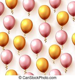 festlig, färg, balloon, struktur, seamless., bakgrund, parti