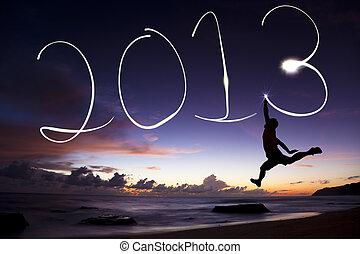 ficklampa, 2013., ung, luft, hoppning, 2013, man, år, färsk, lycklig, strand, teckning, soluppgång, för