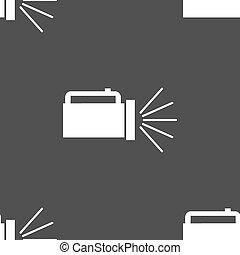 ficklampa, grå, mönster, skylt., seamless, bakgrund., vektor, ikon