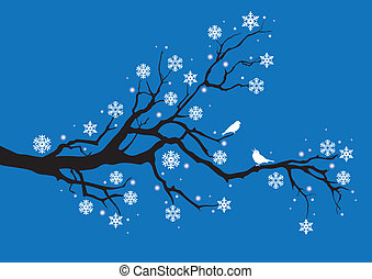 filial, vektor, träd vinter