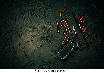 filmrullar, tabell., mörk, konkret, gevär