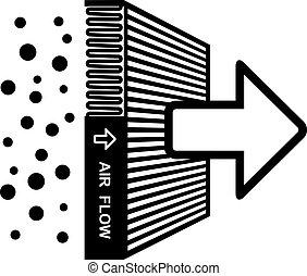 filtrera, symbol, vektor, verkan, luft