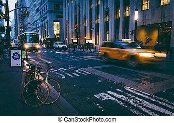 finansiell stadsdel, gata, trafik, gripande, manhattan