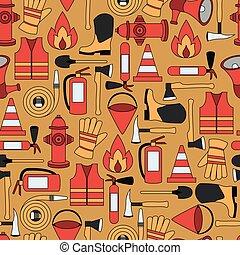 firefighting, mönster, seamless, illustration, utrustning, vektor, fodra