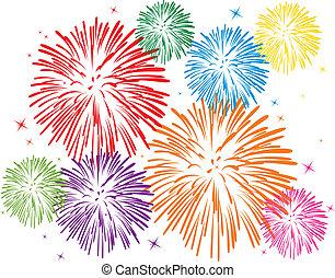 fireworks, färgrik