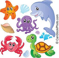 fiskar, 3, djuren, hav, kollektion