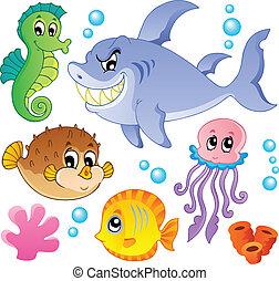 fiskar, djuren, 4, kollektion, hav