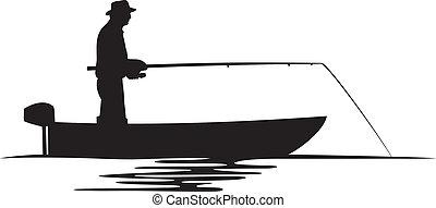 fiskare, silhuett, båt