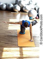 fitness, -, pilates, öva, man