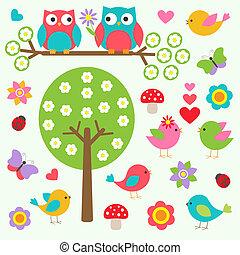 fjäder, fåglar, skog, ugglor
