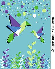 fjäder, par, tid, kolibri, origami