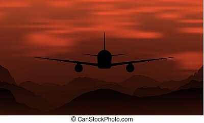 fjäll., airplane, flygning, solnedgång