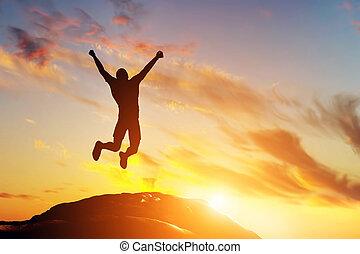 fjäll, framgång, glädje, hoppning, bergstopp, man, lycklig, sunset.