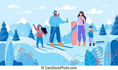 fjäll, skidåkning, snowboarding, tillflykt, familj