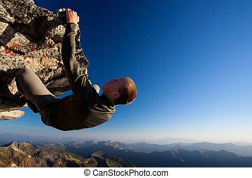 fjäll, ung, hög, omfång, ovanför, vagga att klättra, man