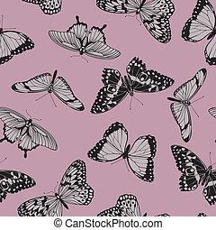 fjäril, årgång, seamless, mönster