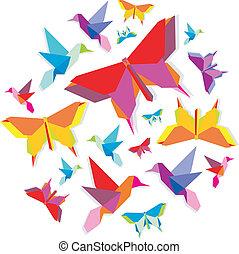 fjäril, fjäder, cirkel, fågel, origami