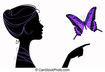 fjäril, flicka, silhuett, vacker
