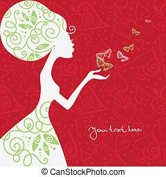 fjäril, flicka, vacker