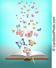 fjäril, flygning, bok, omkring
