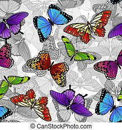 fjäril, mönster, seamless, bakgrund
