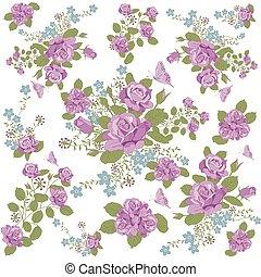fjäril, ro, blomma, fond mönstra