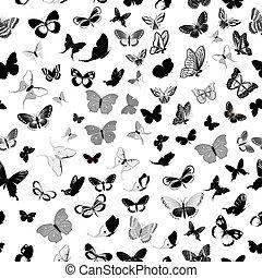 fjäril, seamless, bakgrund