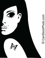 fjäril, tatuera, kvinna, silhuett, henne, illustration, vektor, knuffa