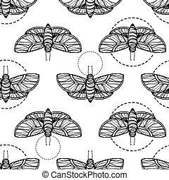 fjäril, vektor, seamless, bakgrund