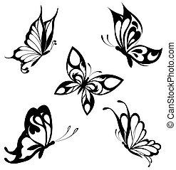 fjärilar, sätta, svart, vit, ta