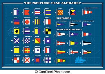 flaggan, alfabet, kust, hav, -, internationell, vektor, signal