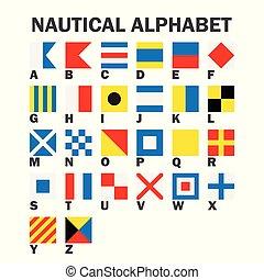 flags., signal, sätta, kust