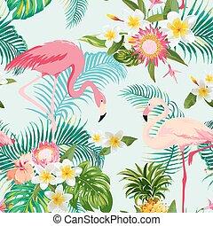 flamingo, årgång, pattern., seamless, tropisk, bakgrund., vektor, blomningen, fåglar