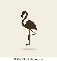flamingo, stylized, silhuett