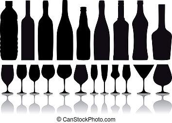 flaskor, vektor, glasögon, vin