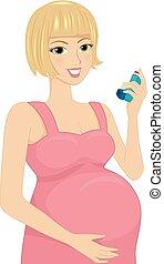 flicka, astma inhalator, illustration, gravid