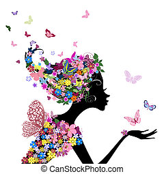 flicka, blomningen, fjärilar