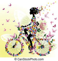 flicka, cykel, romantisk