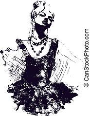 flicka dansarinna, illustration