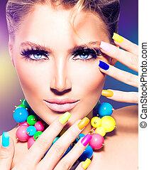 flicka, färgrik, fingernagel, modell, mode, skönhet