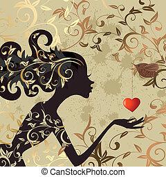 flicka, fågel, valentinbrev