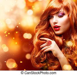 flicka, hår sätt, portrait., vågig, gyllene, röd