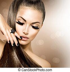flicka, hår sätt, skönhet, modell, brun, hälsosam, länge