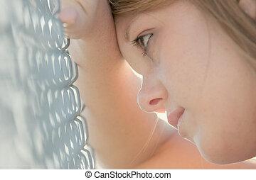 flicka, mot, staket